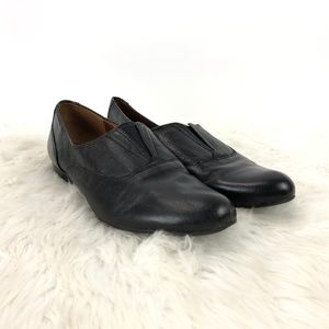 Naturalizer Black Leather Lecture Slip-on Flats